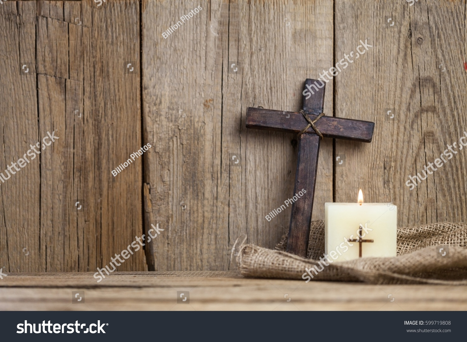 Christian Cross And Candle Ez Canvas