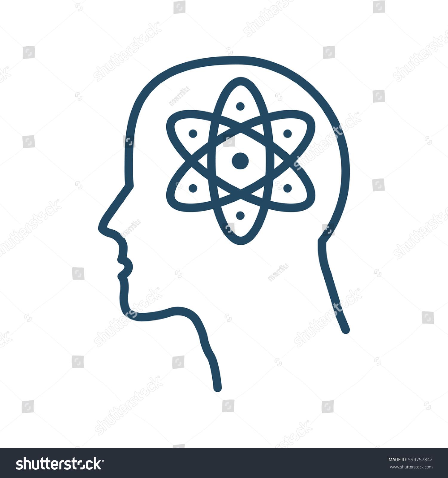 Atom Sign Inside Human Head Vector Stock Vector Royalty Free