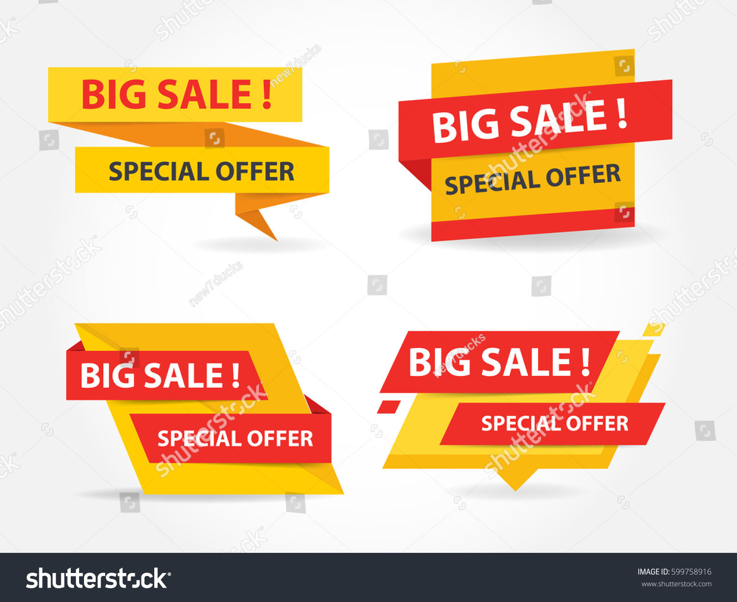 Yellow Red Shopping Sale Banner Label Stock Vector 599758916 ...