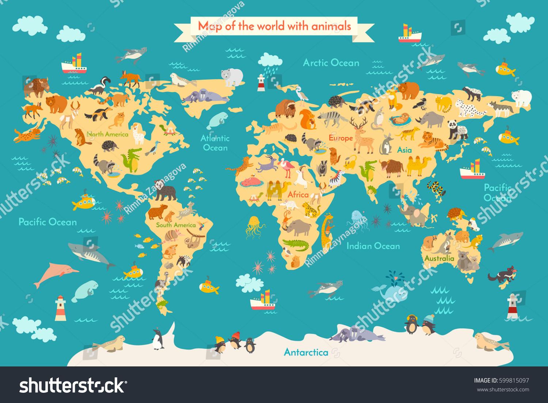 Karte Kontinente Welt.Karte Tier Fur Kind Kontinent Der Welt Stock Photo