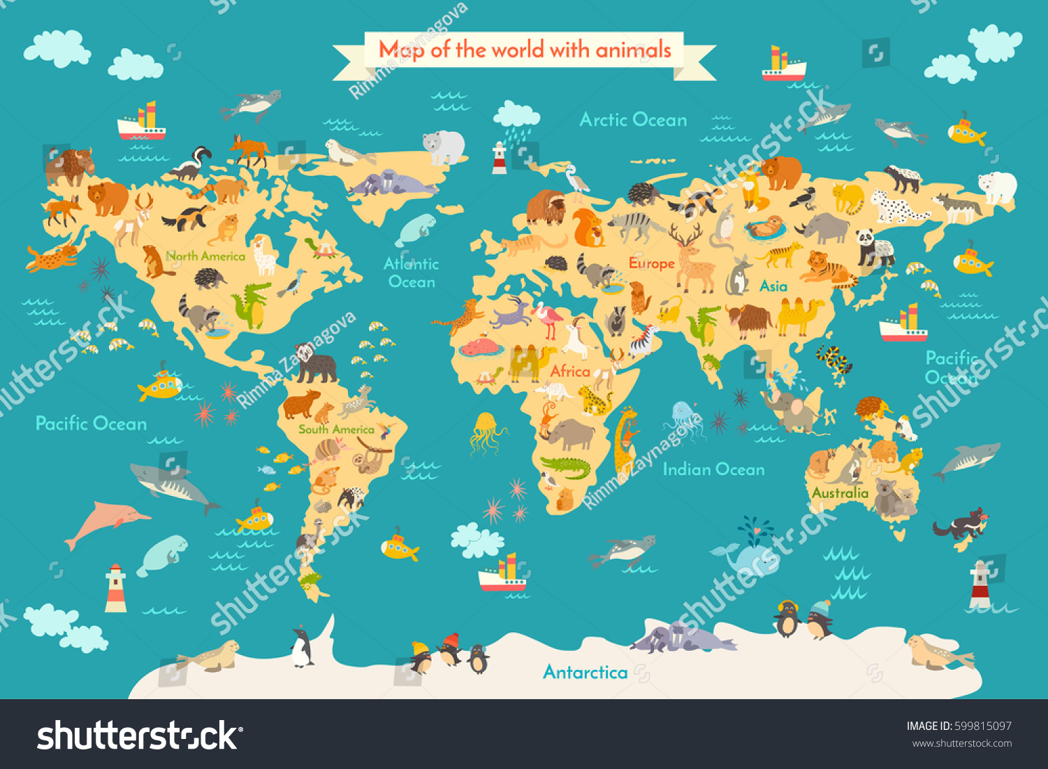 Map Animal For Kid Continent Of World Animated Childs Vector Illustration Animals