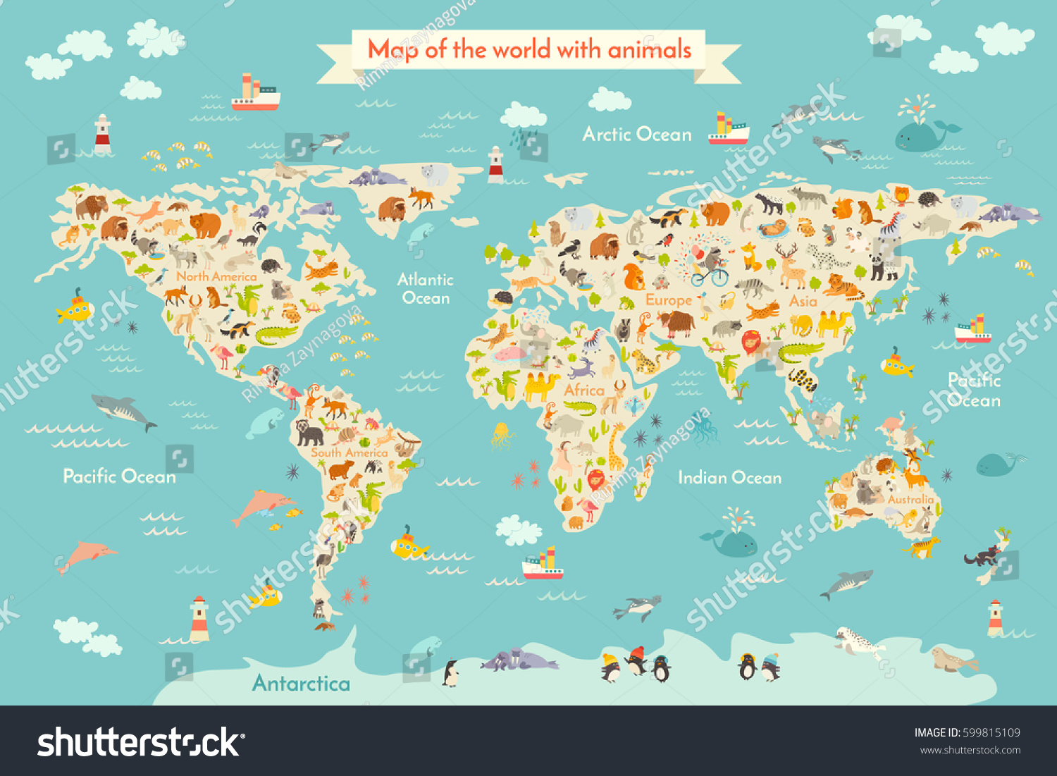 Map animal kid continent world animated vector de stock599815109 map animal for kid continent of world animated childs map vector illustration animals gumiabroncs Images