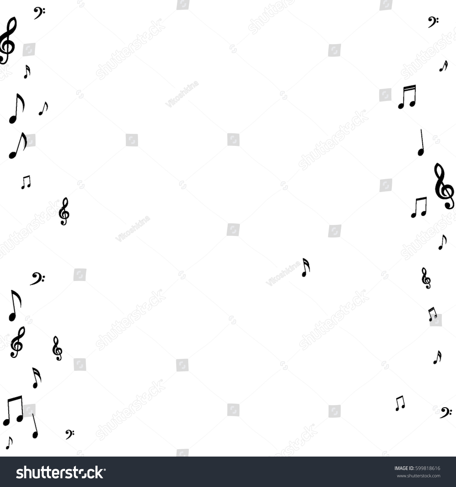 Square frame music notes treble bass stock vector 599818616 square frame of music notes treble and bass clefs black musical symbols on white background buycottarizona Choice Image