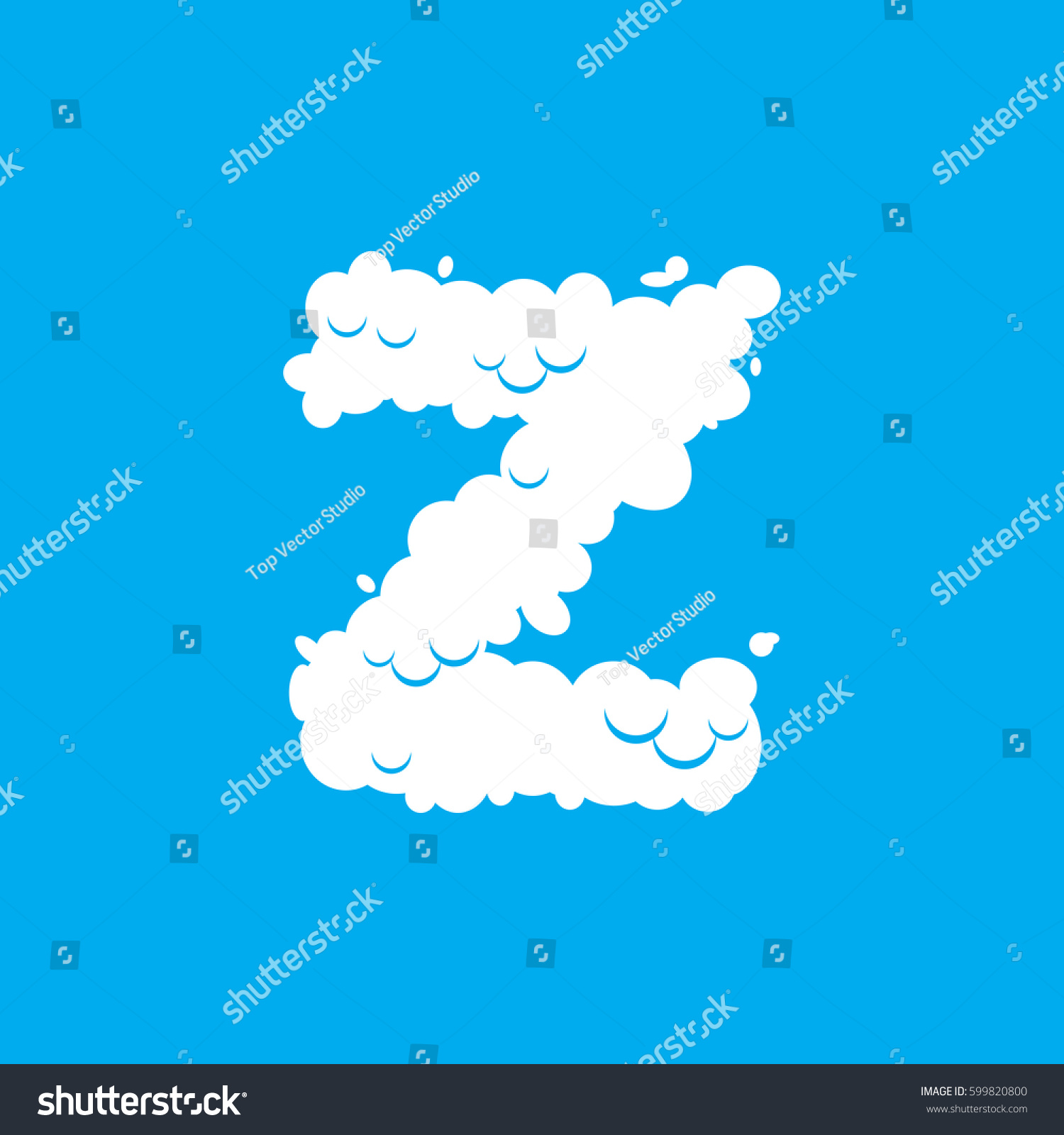 Letter z cloud font symbol white stock vector 599820800 shutterstock letter z cloud font symbol white alphabet sign on blue sky biocorpaavc