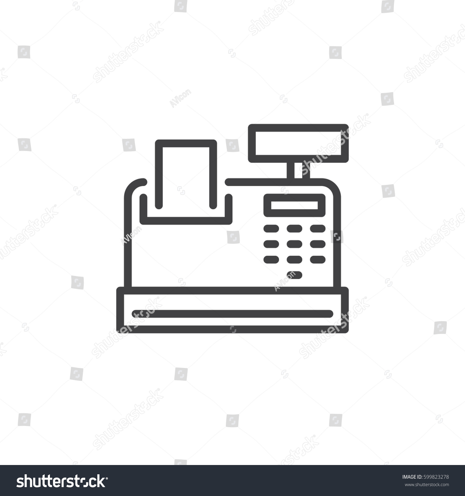 Cash Register Line Icon Outline Vector Stock Vector ...