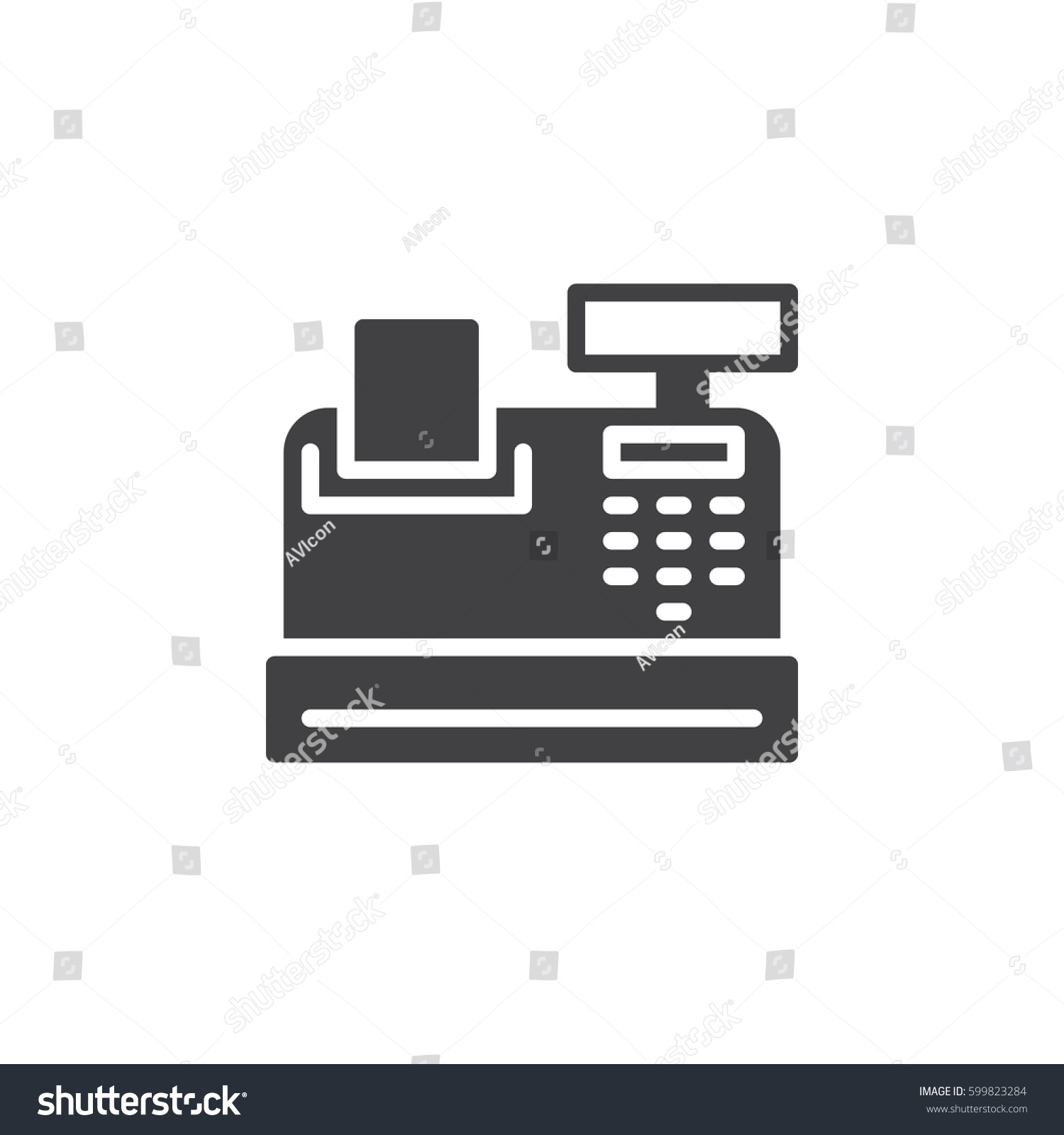 Cash register icon vector filled flat em vetor stock 599823284 cash register icon vector filled flat sign solid pictogram isolated on white symbol ccuart Image collections