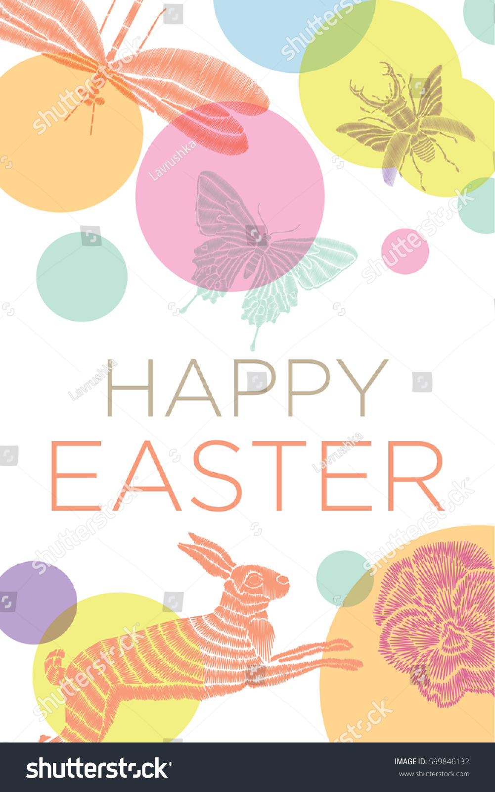 Easter Greetings Card Vector Illustration Easter Stock Vector