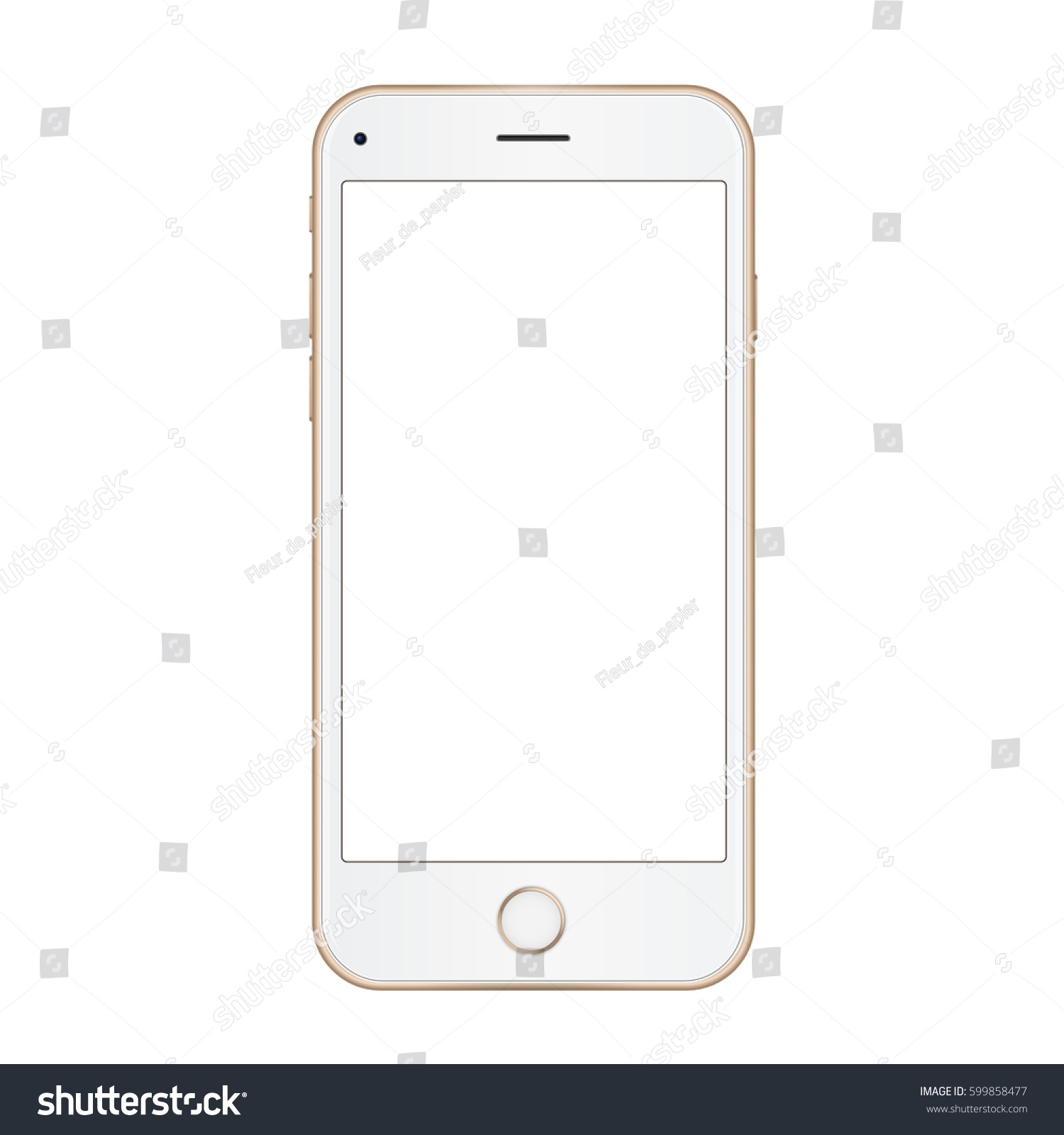 4k gold frame mobile phone with empty screen high quality realistic illustration - Mobile Frame