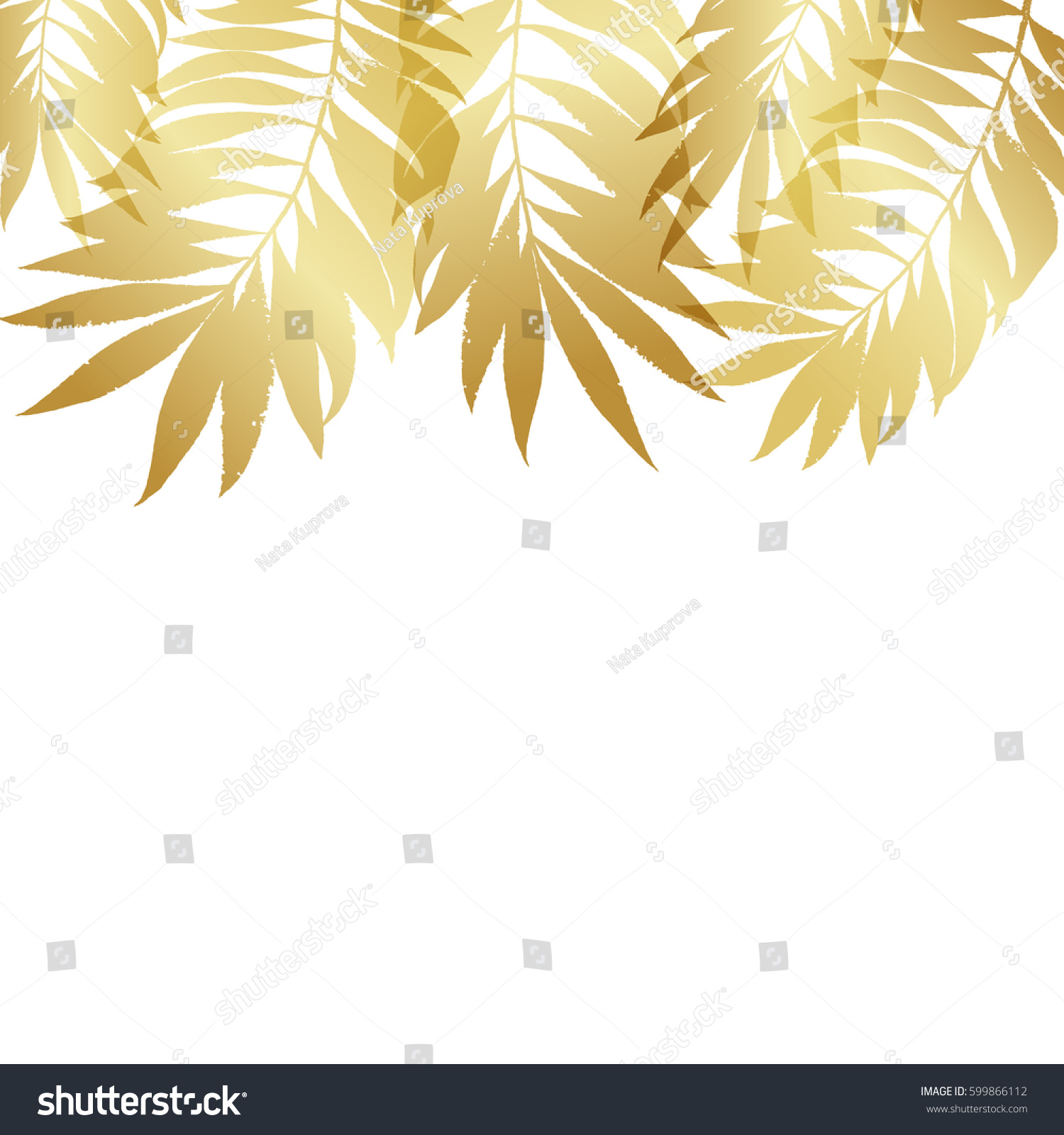 Summer Tropical Palm Tree Gold Leaves Stock Vector 599866112 ...