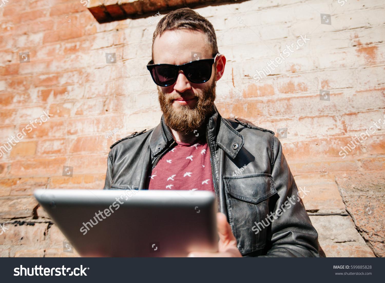 Hipster Man Beard Wearing Glasses Stock Photo 599885828 ...