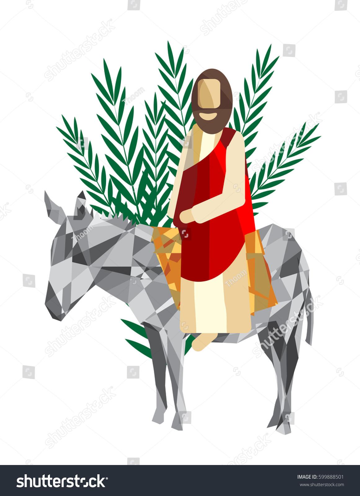 Palm Sunday Triumphal Entry Jesus Into Vector de stock599888501 ...