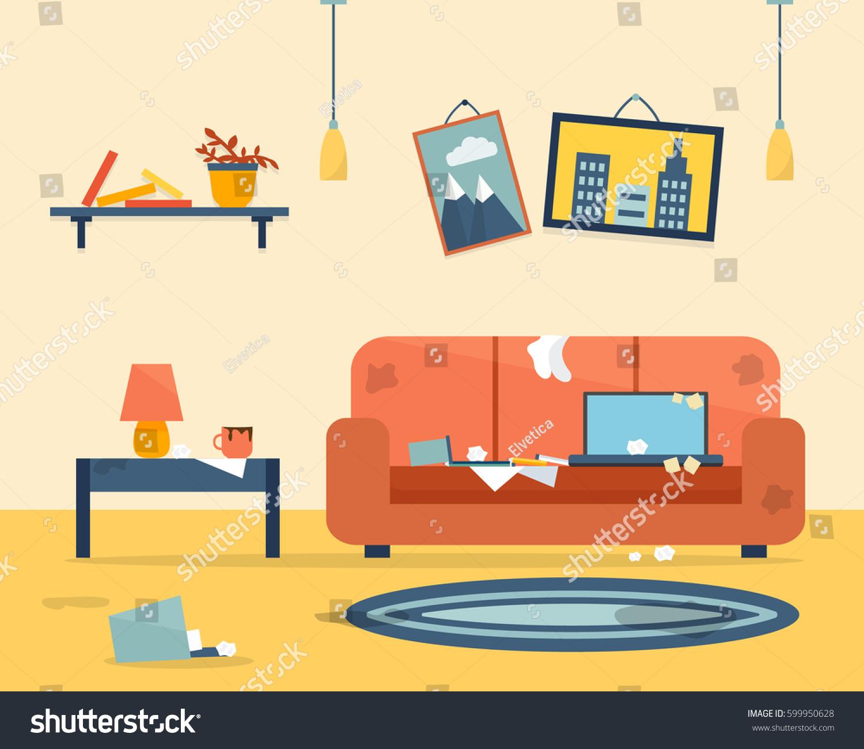 Clean Bedroom Before And After Pulaski Bedroom Sets Bedroom Grey Walls Bedroom Wallpaper Design Ideas: Dirty Clean Room Disorder Interior Apartment Stok Vektör