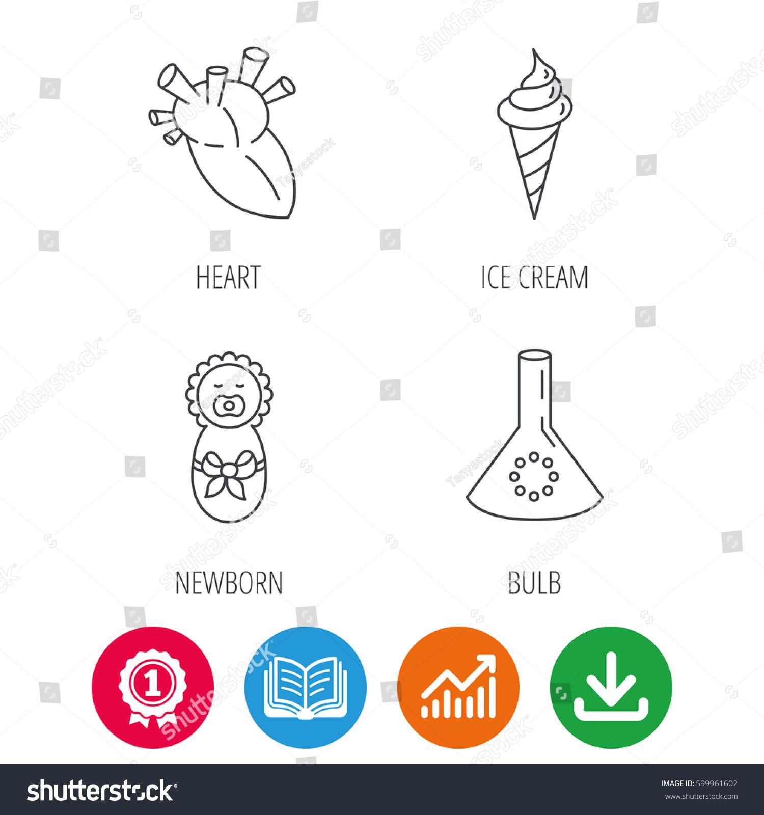 Newborn Heart Lab Bulb Icons Ice Stock Vector Royalty Free