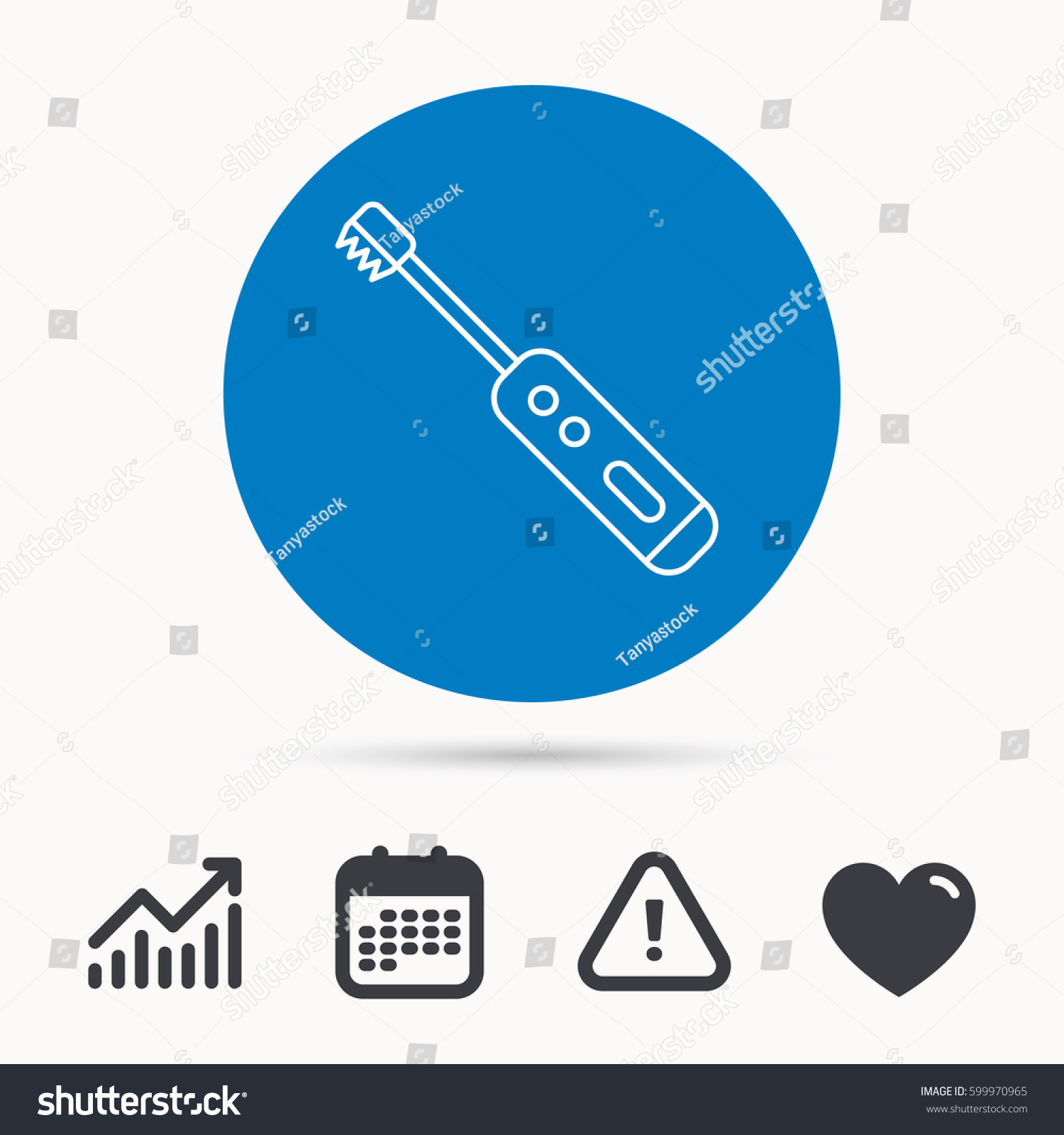 Electric Toothbrush Icon Tooth Cleaning Sign Stock Vector 599970965