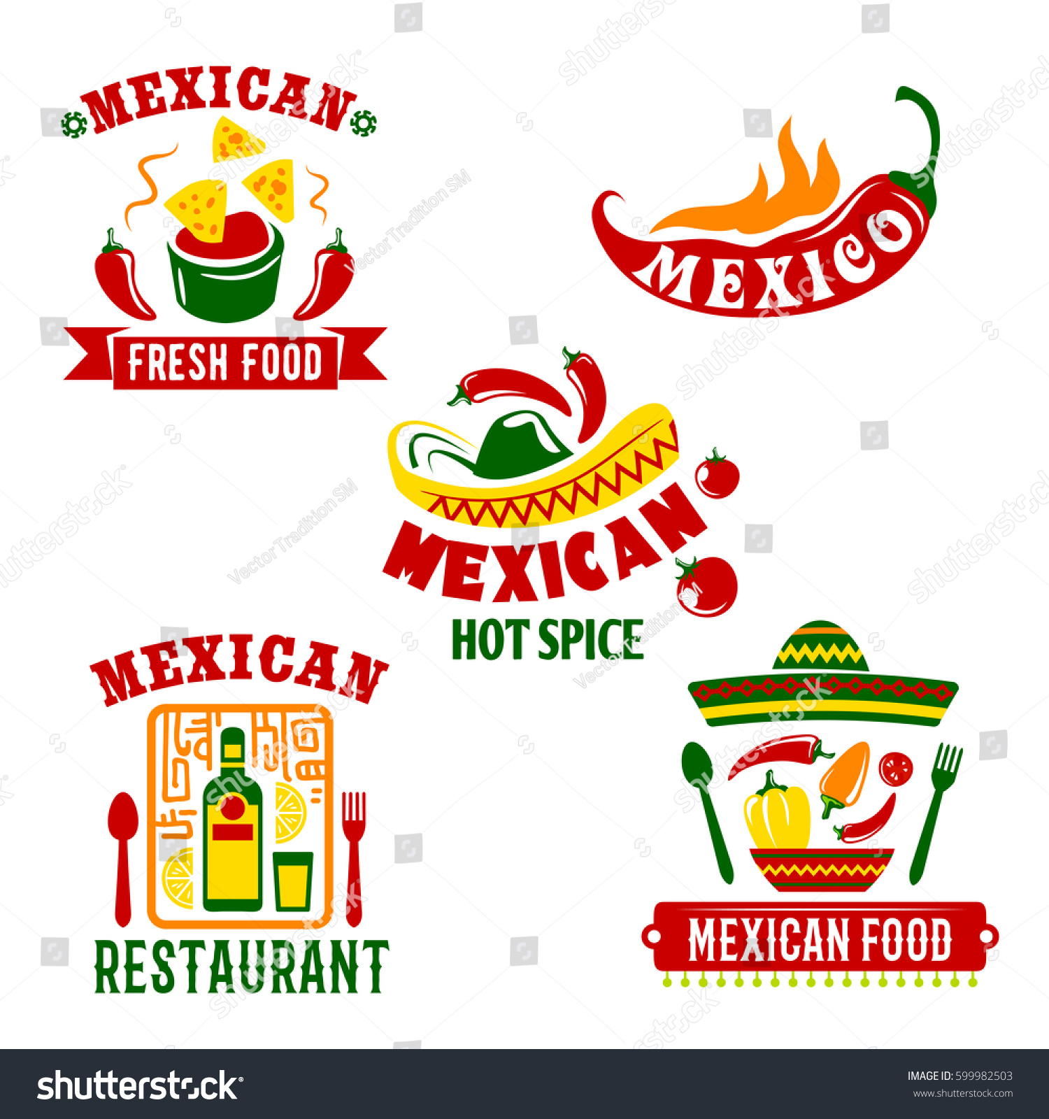 Mexican Restaurant Cafe Bar Icons Set Stock Vector Royalty Free