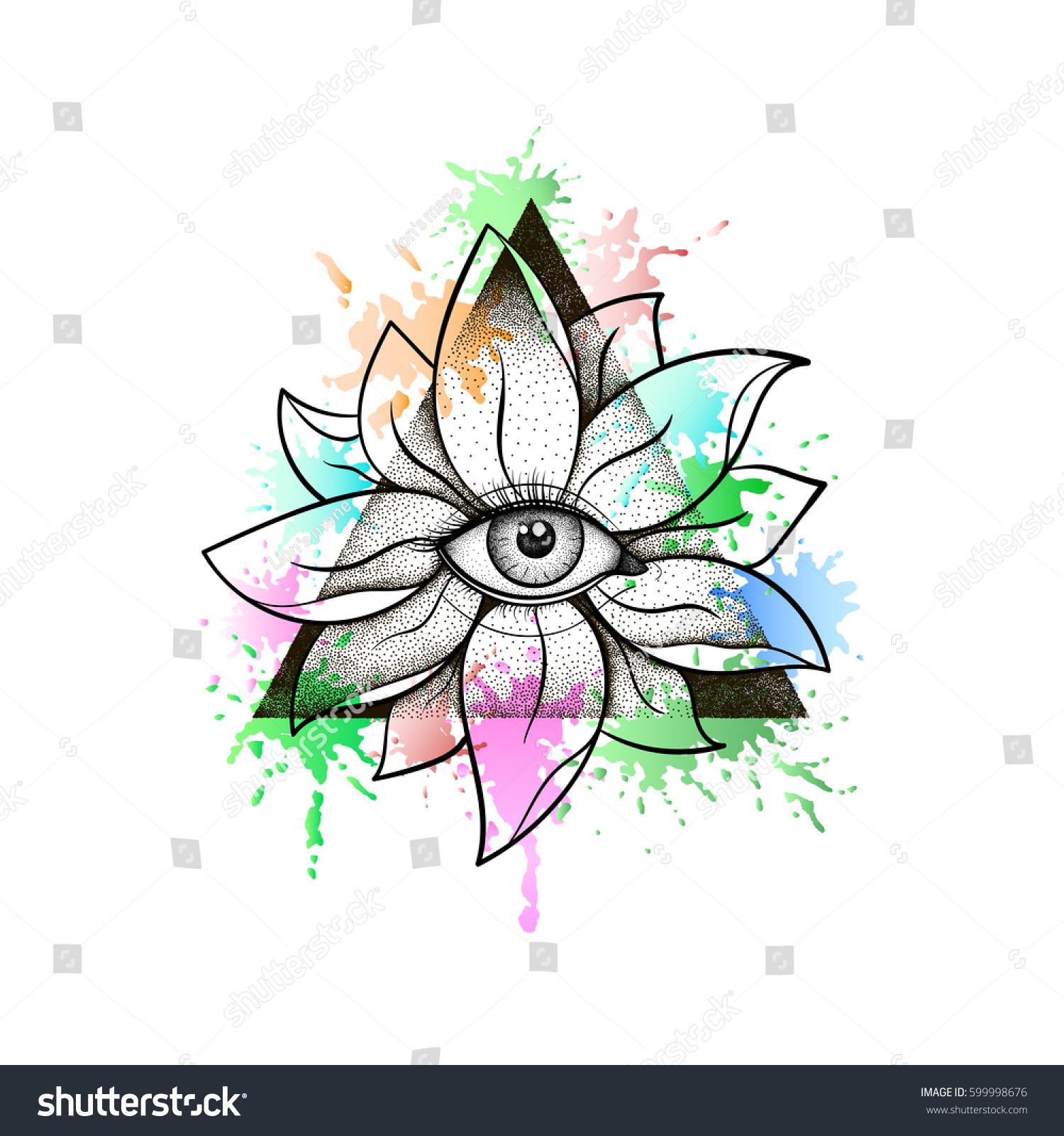 Vintage All Seeing Eye Lotus Flower Stock Vector Royalty Free