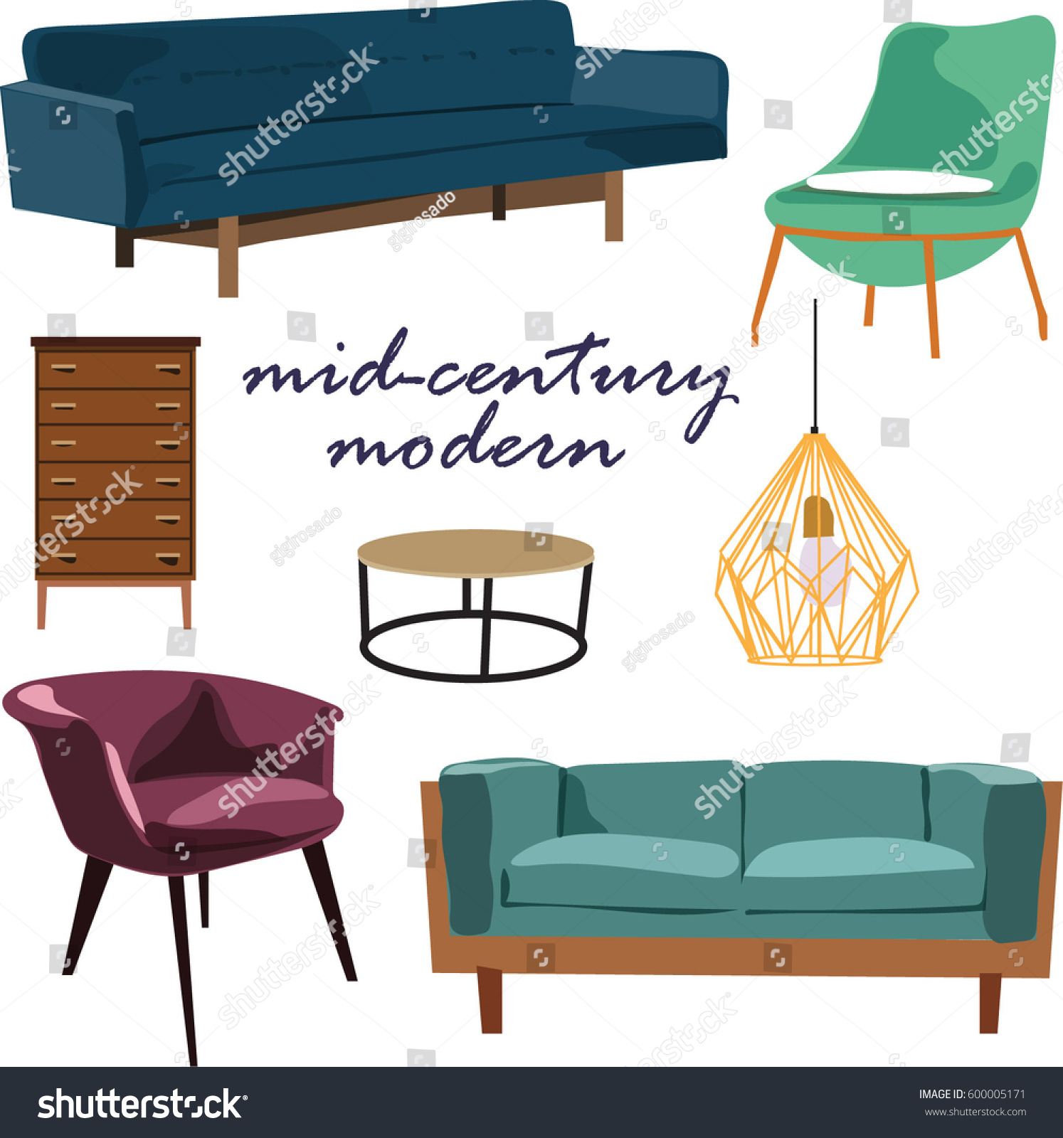 Retro Furniture Collection Set Elements Realistic Stock Vector ...