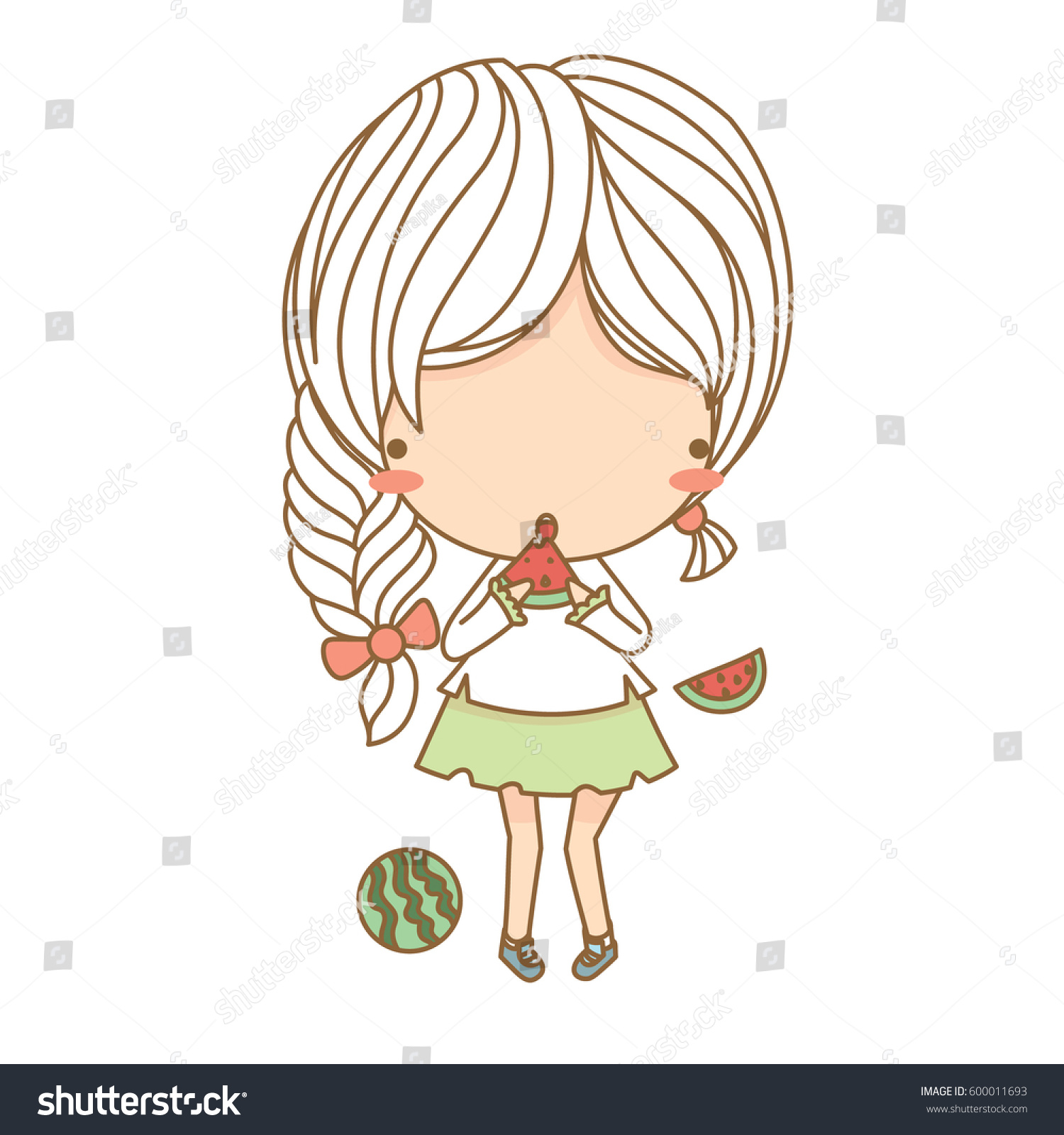 Cute Character Design Illustrator : Cute little girl eating watermelon vector stock