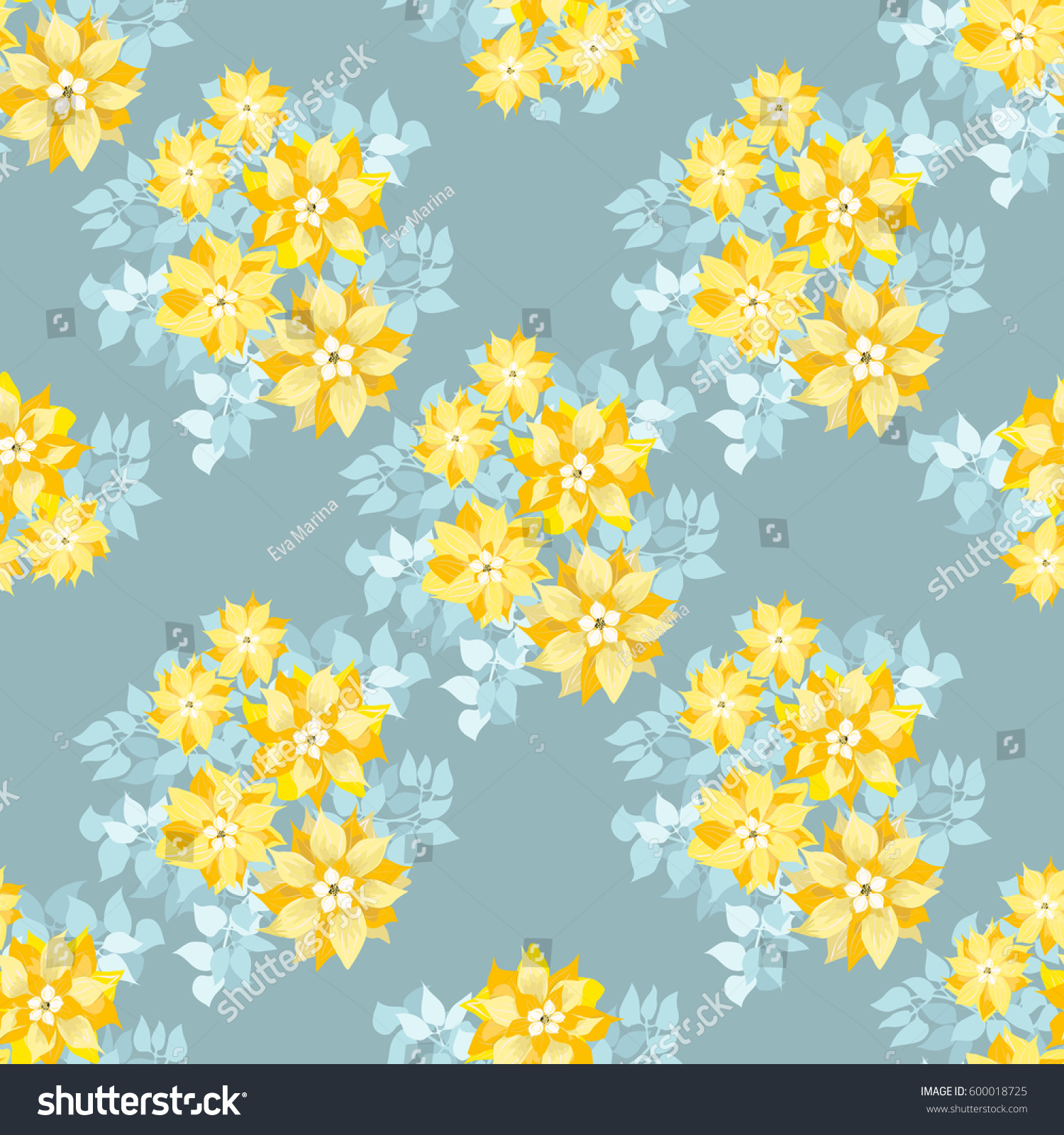 Seamless Gorgeous Pattern Cute Yellow Flowers Royalty Free Stock