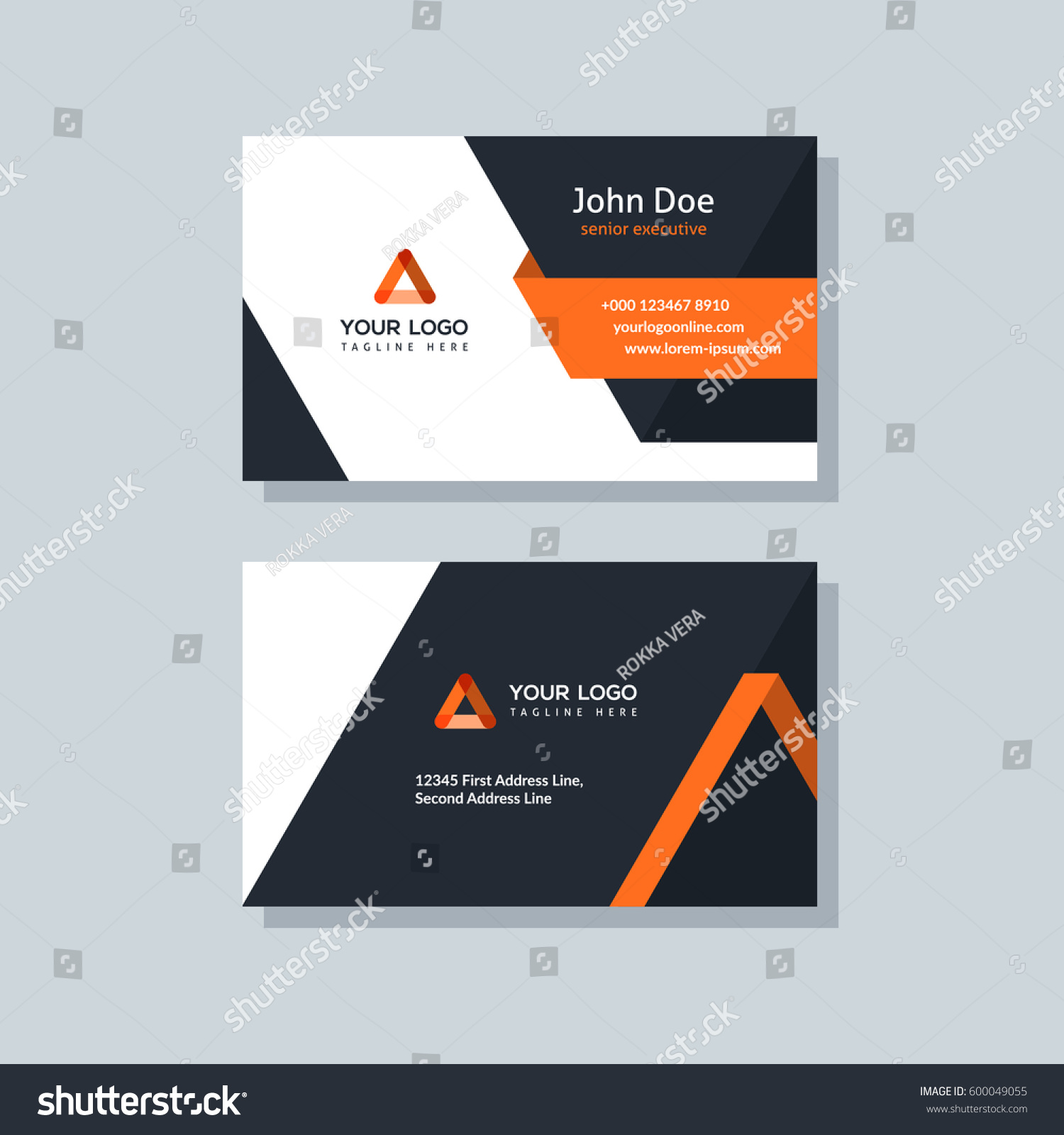 Modern Business Card Template Orange Colors Stock Vector 600049055 ...