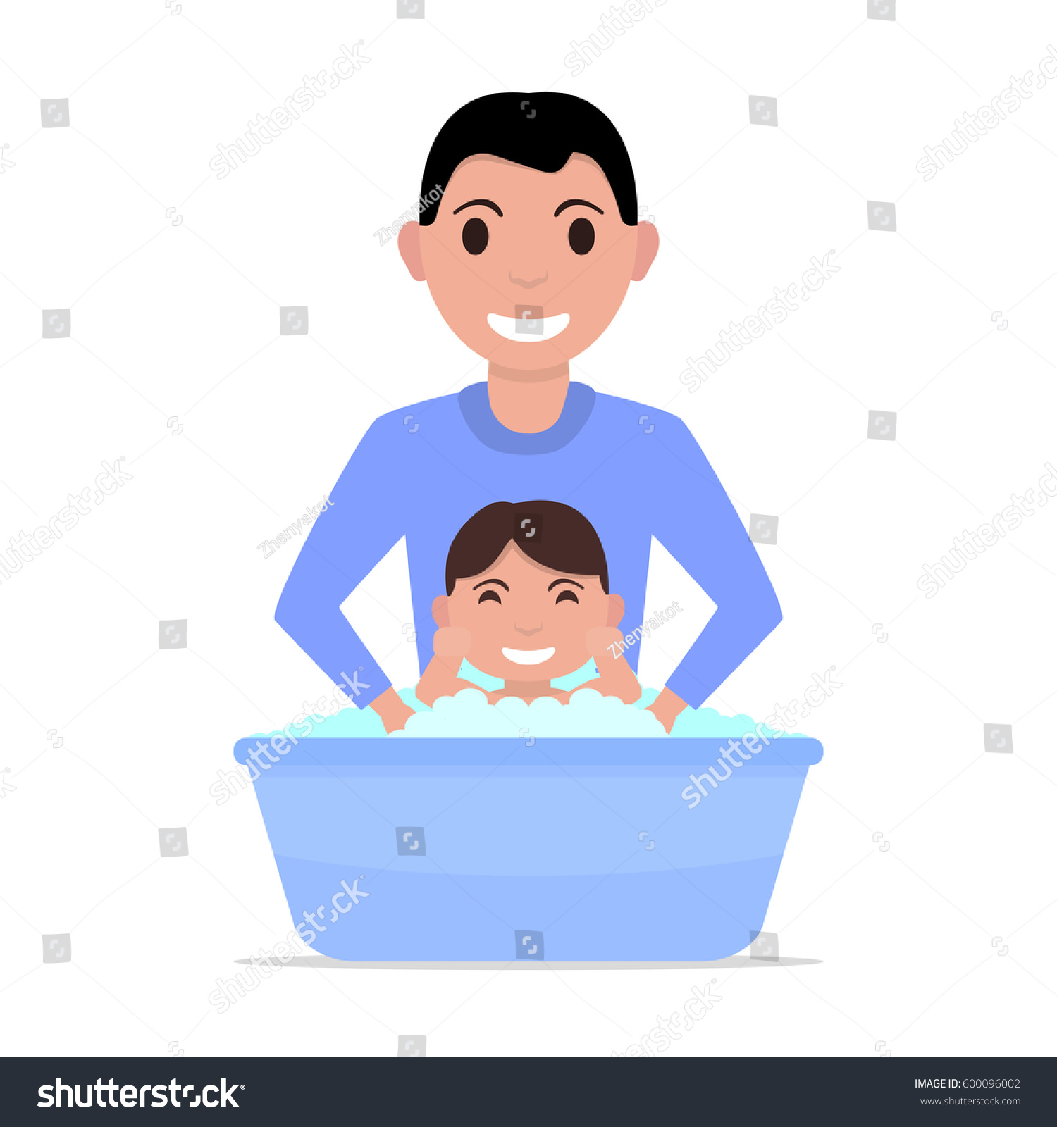 Vector Illustration Cartoon Father Bathes Baby Stock Vektorgrafik