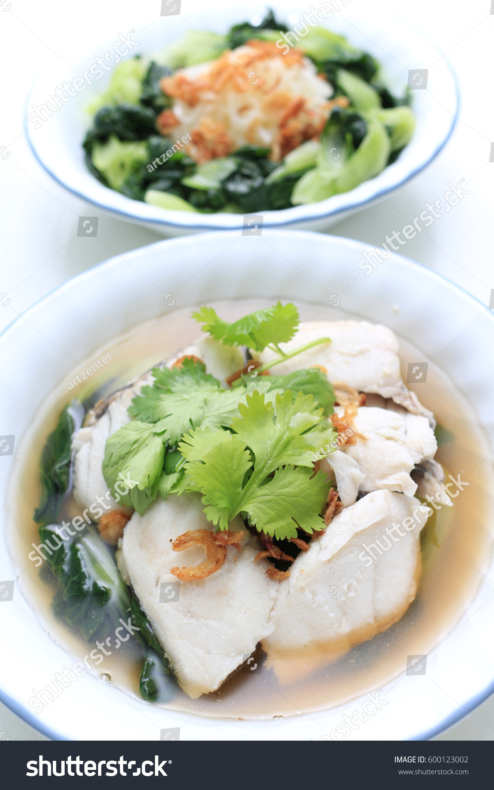 Homemade sea bass fish noodles gourmet stock photo for Homemade fish food