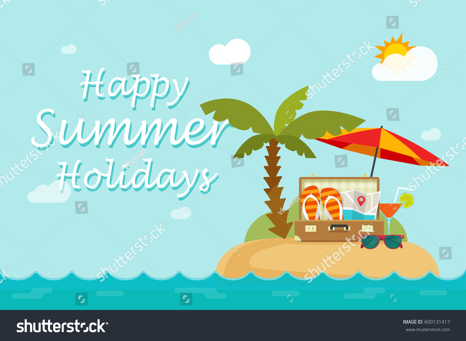 Happy Summer Holidays Background Vector: Happy Summer Holidays Text On Paradise Stock Vector