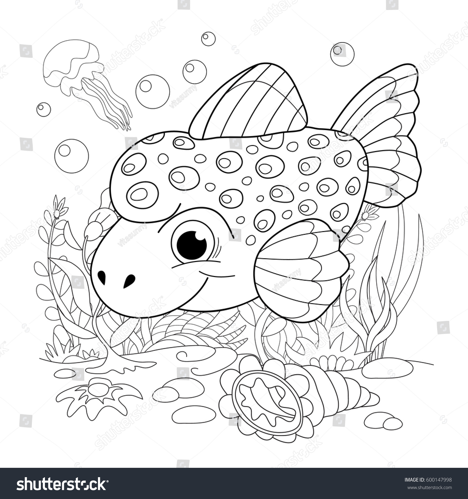 Cartoon Fanny Fish Underwater Life Sea Stock Vector