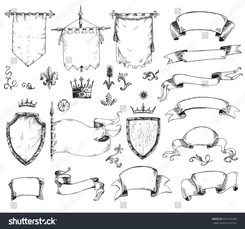 vector hand drawn collection heraldic templates stock vector 600149246 shutterstock. Black Bedroom Furniture Sets. Home Design Ideas