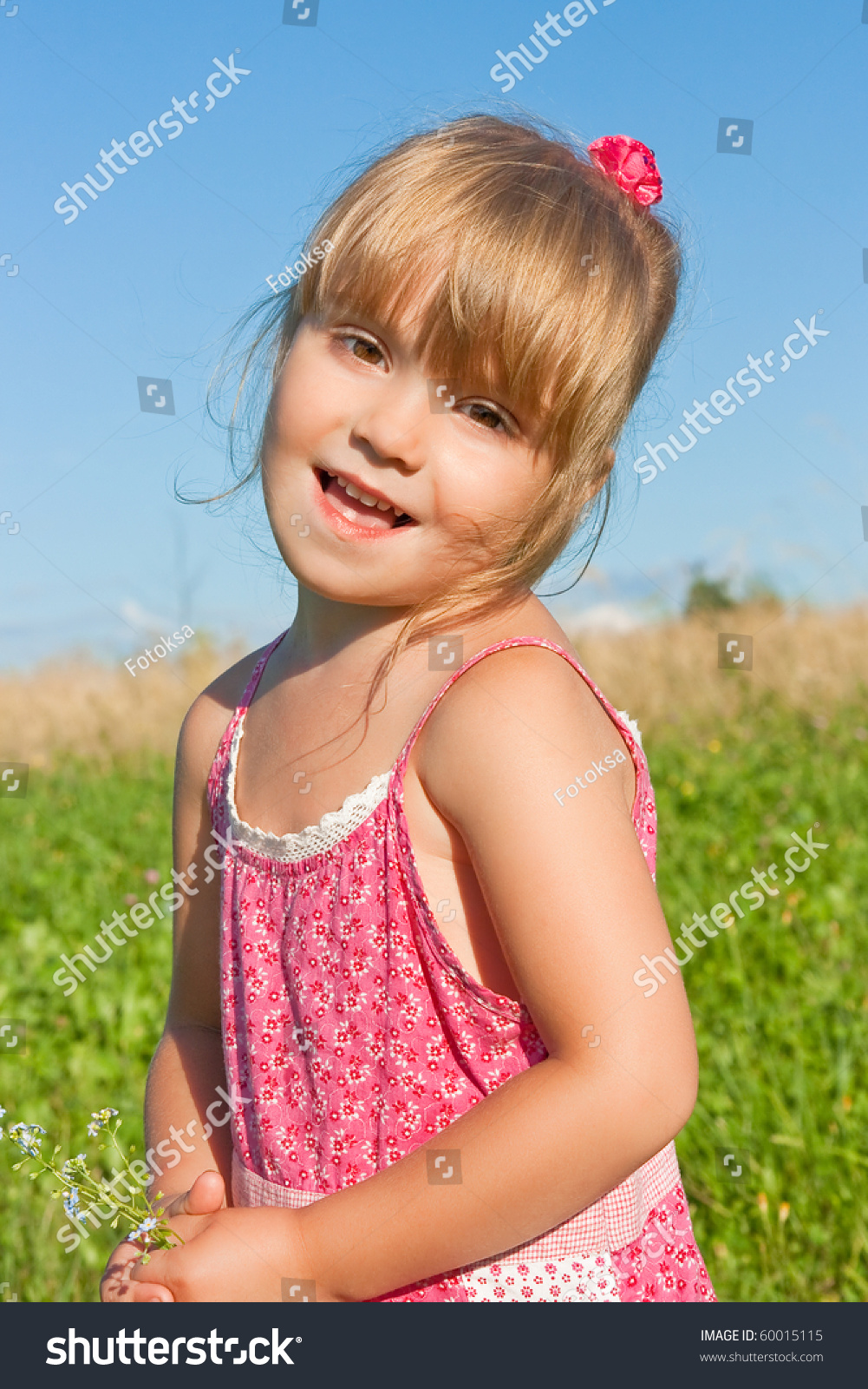 Funny Girl In A Pink Dress With Flowers Stock Photo ... - photo#11