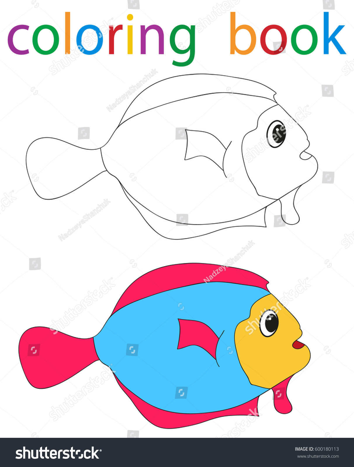 Vector book coloring cartoon fish surprised stock vector for Colorful fish book