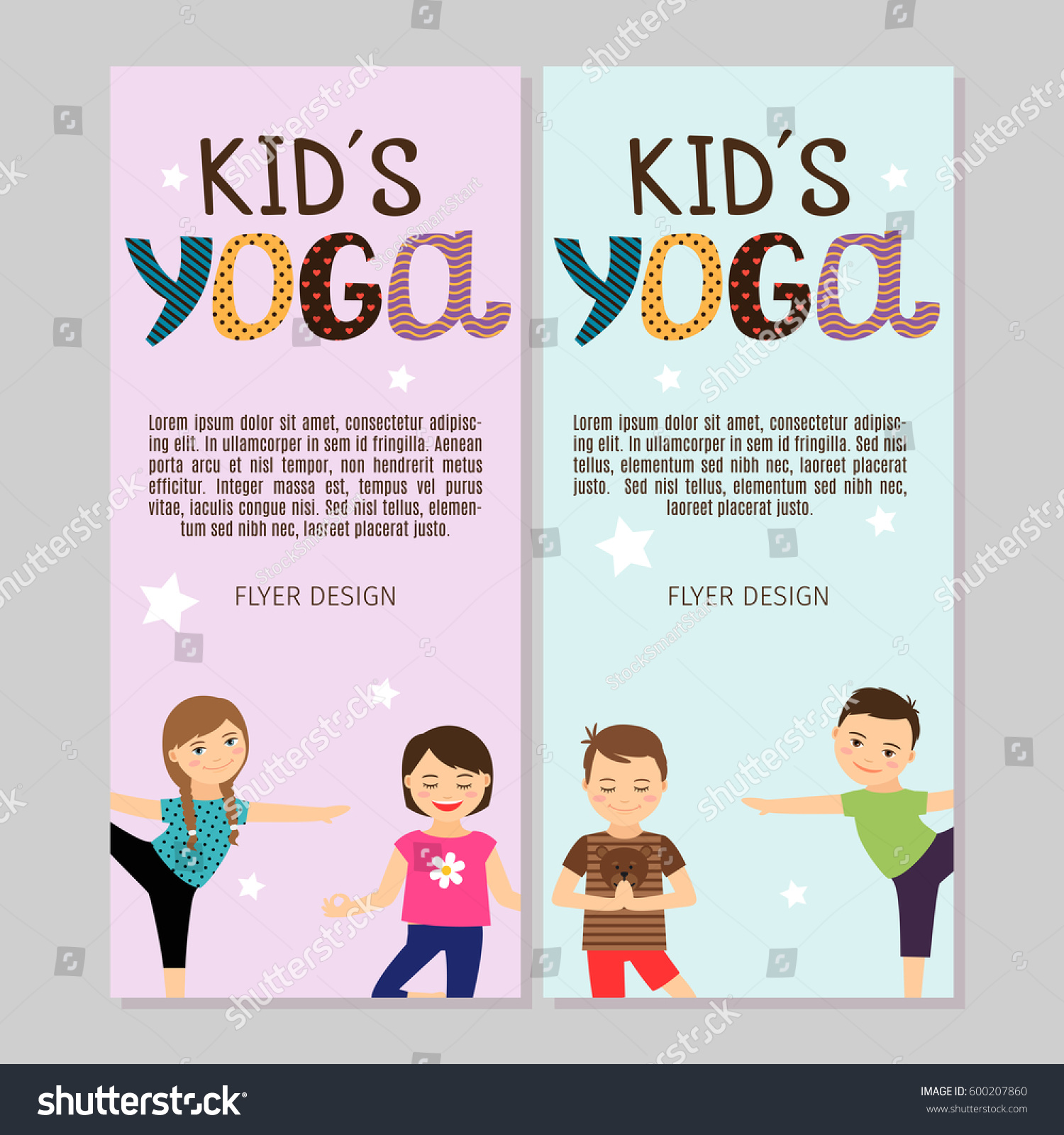cute yoga flyers boys girls vector stock vector  cute yoga flyers boys and girls vector illustration