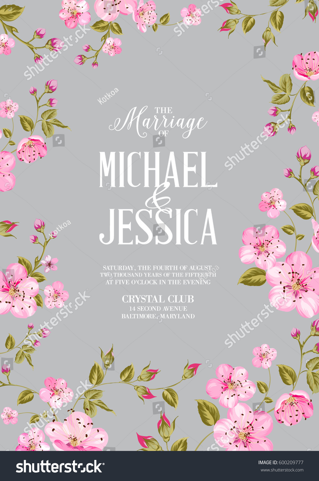 Wedding Invitation Card Template Spring Flowers Stock Illustration ...