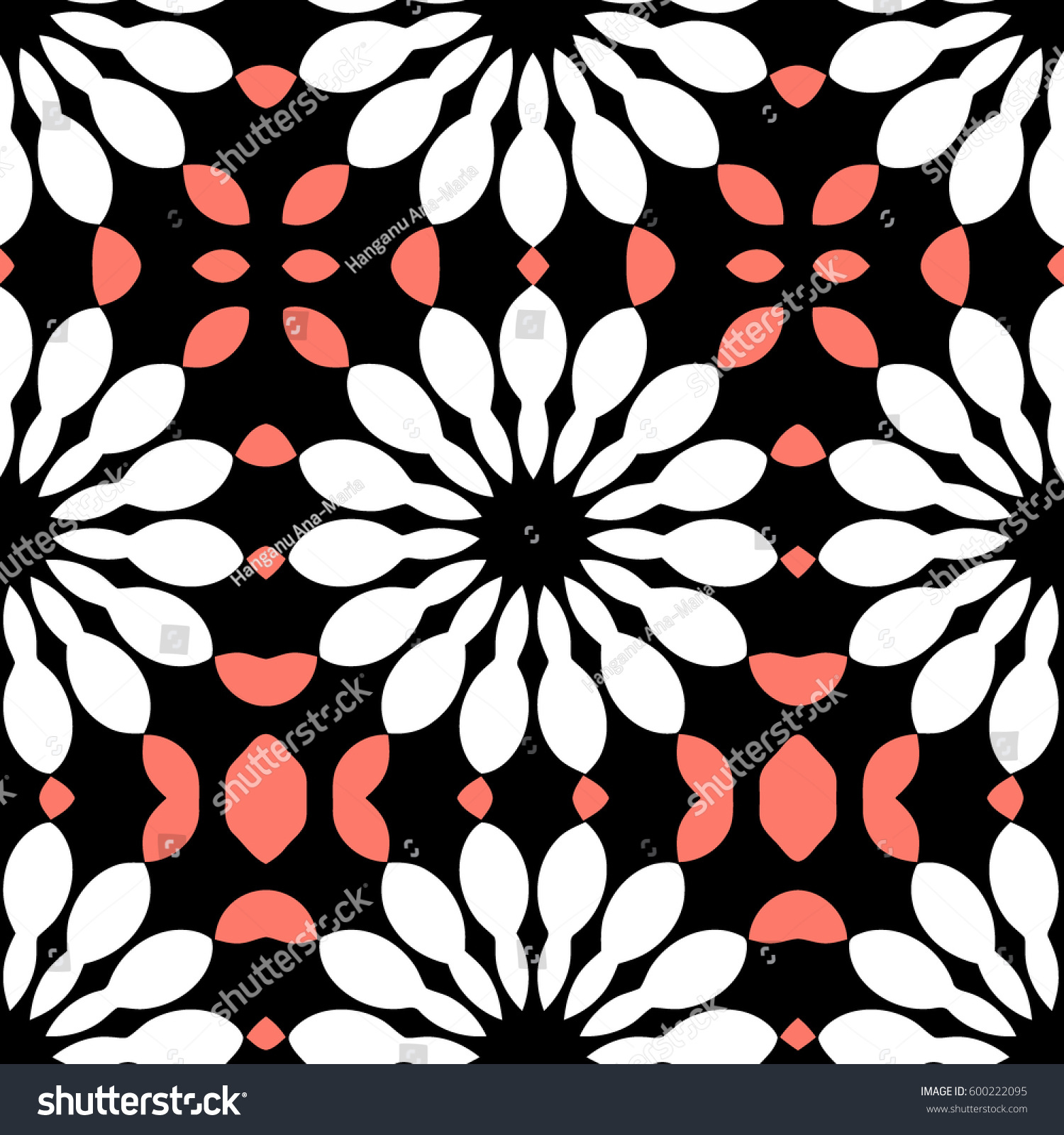 Black White Pink Floral Vector Pattern Stock Vector 600222095