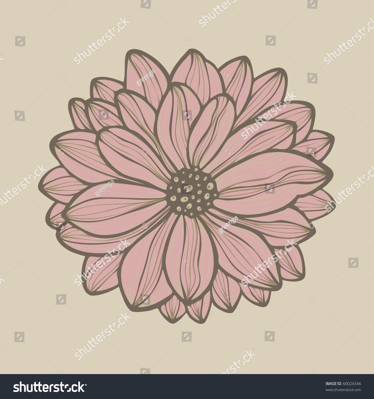 Hand Drawn Flower, Vector - 60024346 : Shutterstock