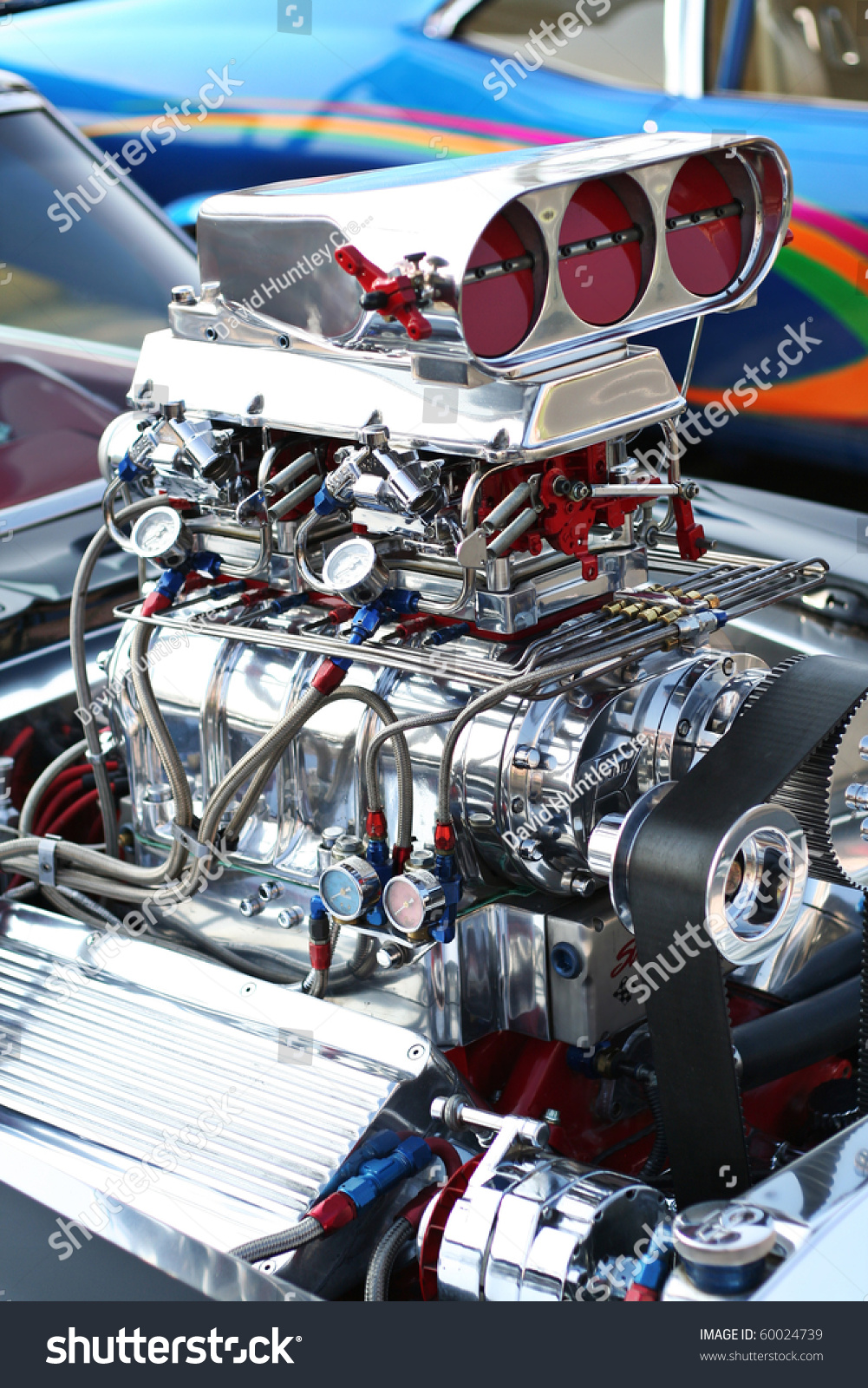 Precision Muscle Car Engine That Produce Stock Photo
