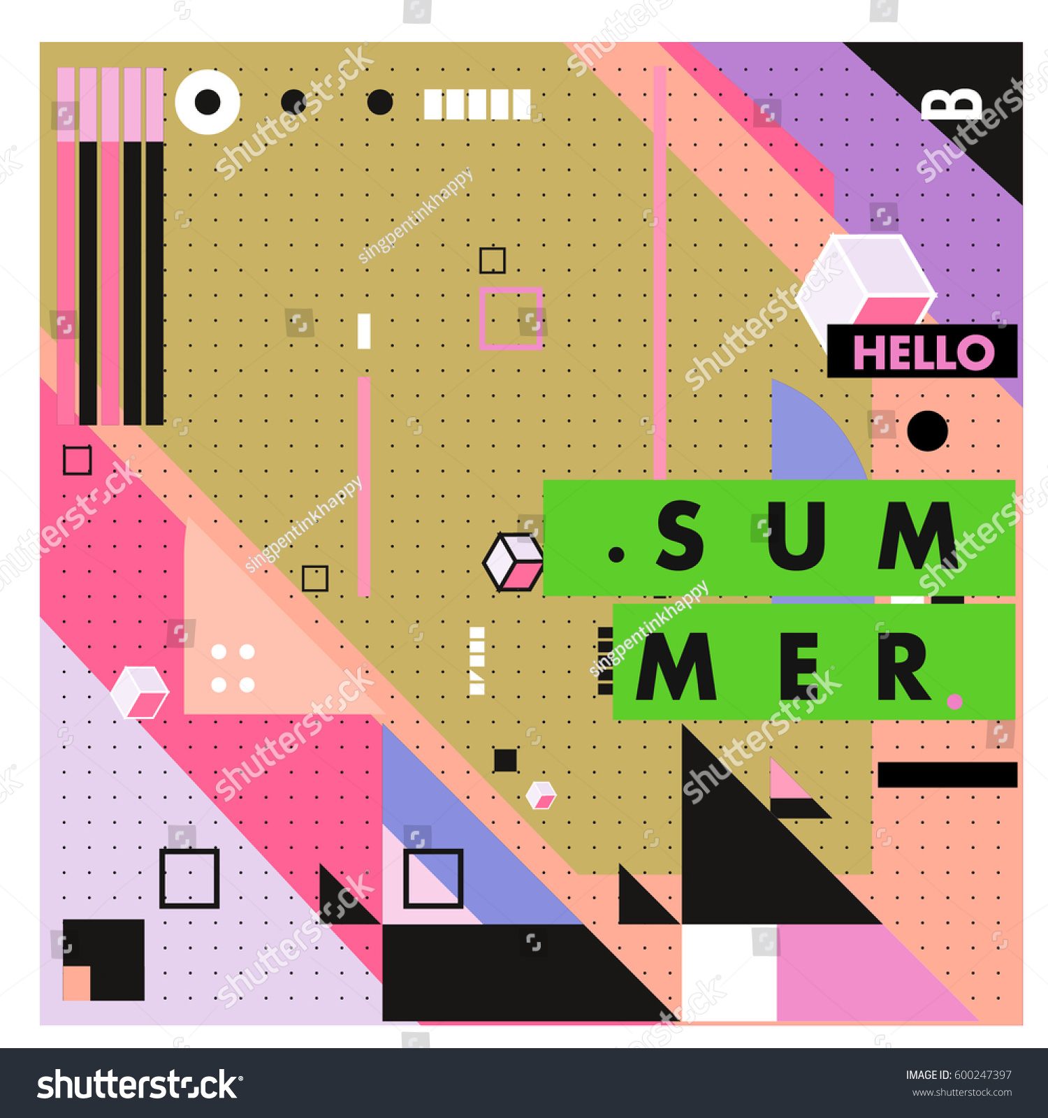 Trendy Vector Summer Cards Illustration Line Stock Vector Royalty Free 600247397