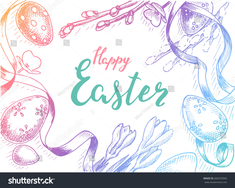 Vector Illustration Sketch Spring Vintag Card Stock Vector ...