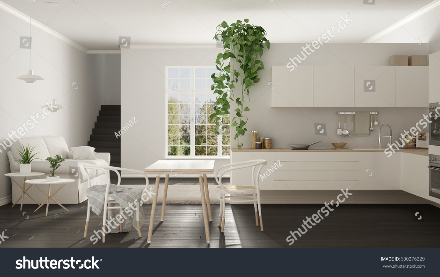 Scandinavian White Minimalist Living Kitchen Open Stock