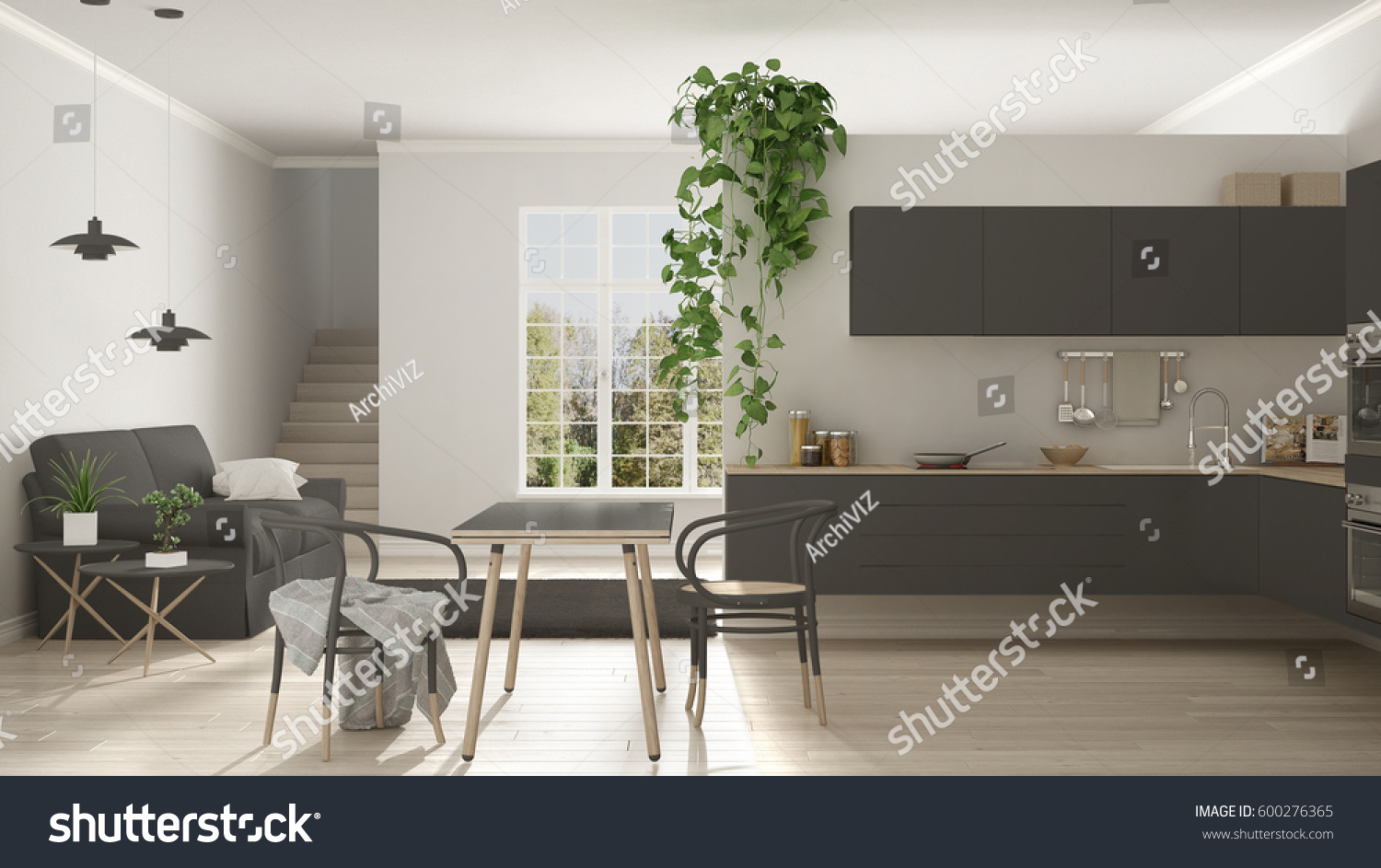 Scandinavian Gray Minimalist Living Kitchen Open Stock