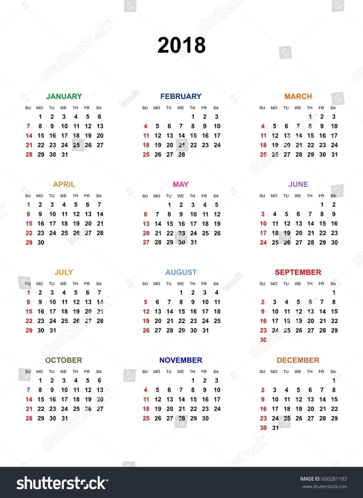Calendar Year Names : Simple color calendar year names stock vector