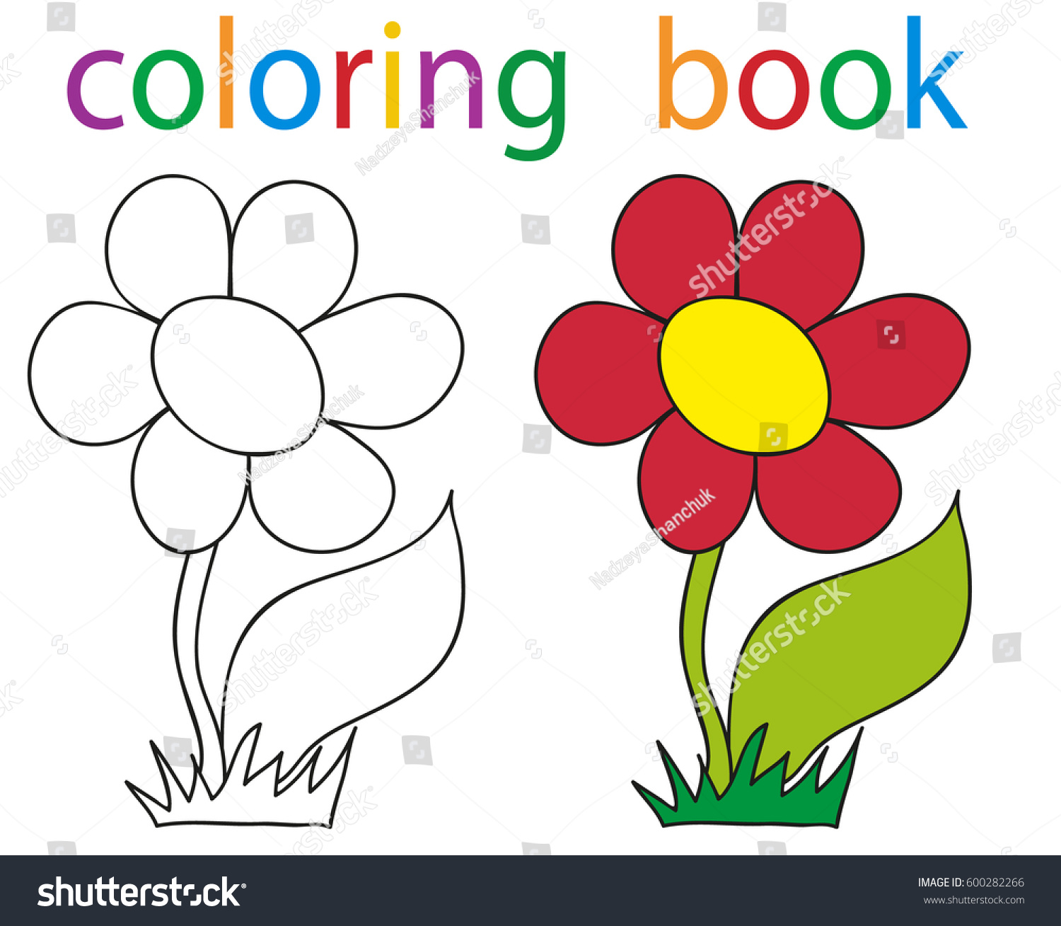 Vector Book Coloring Flowers Just Stock Vector 600282266 - Shutterstock