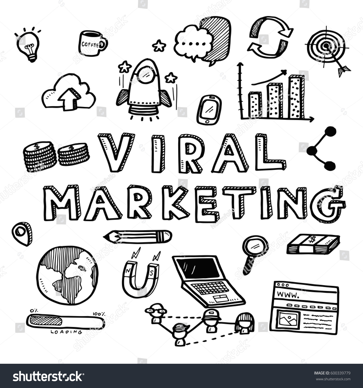 Viral Word: Hand Draw Business Doodles Viral Marketing Stock Vector