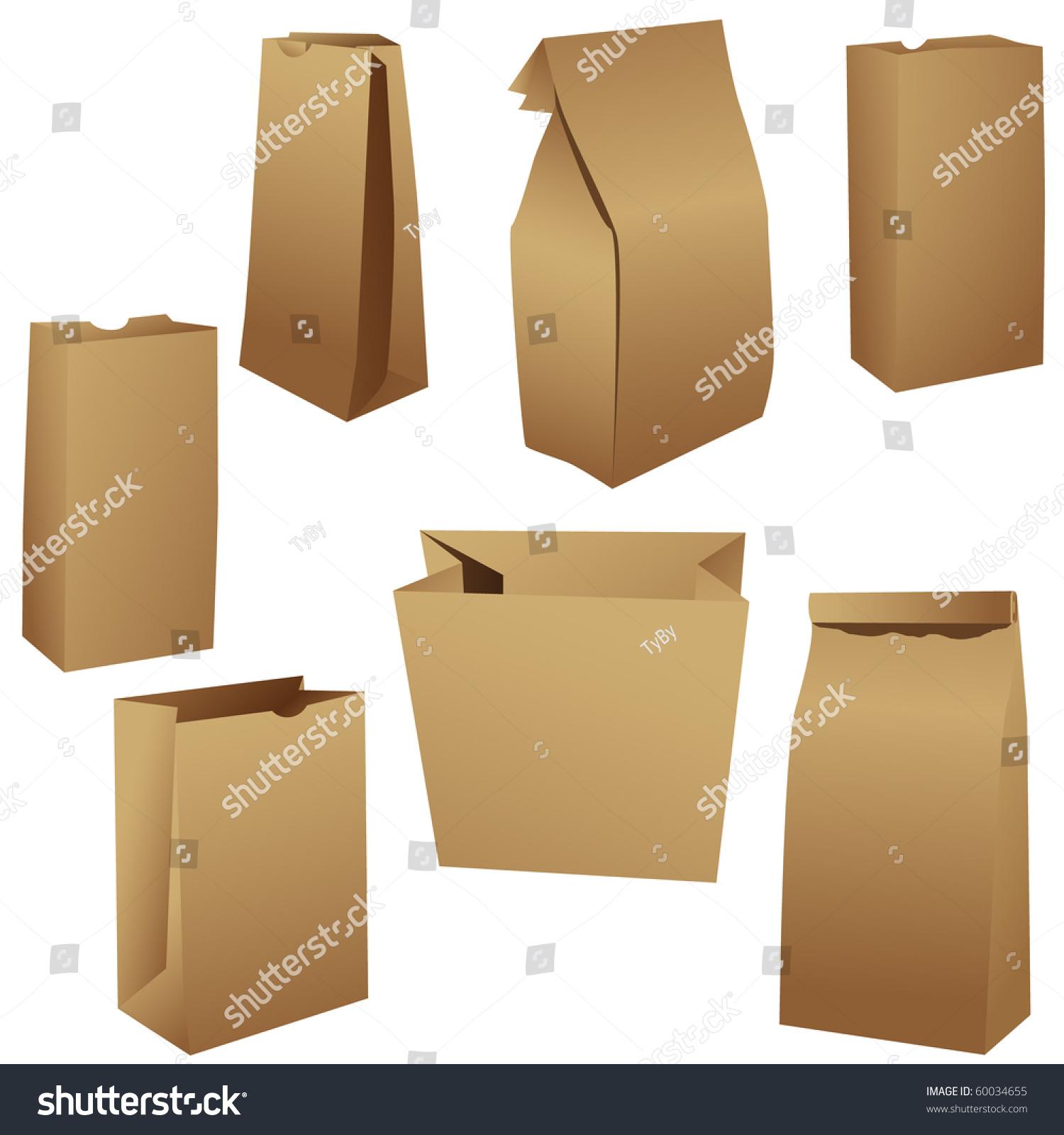 Paper bag vector - Brown Paper Lunch Bags Set Vector