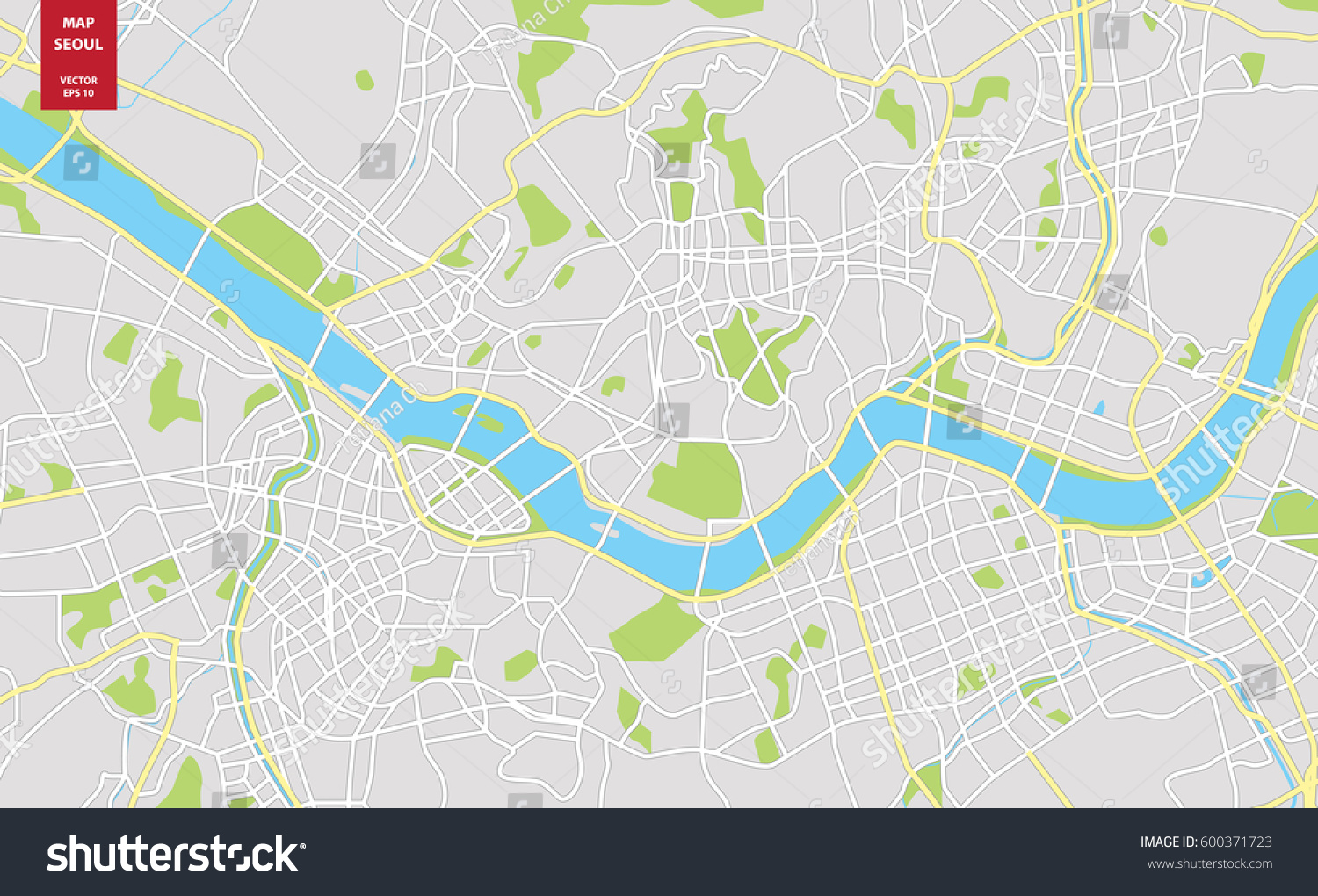 Vector color map seoul south korea stock vector 600371723 shutterstock vector color map of seoul south korea city plan of seoul vector illustration gumiabroncs Image collections