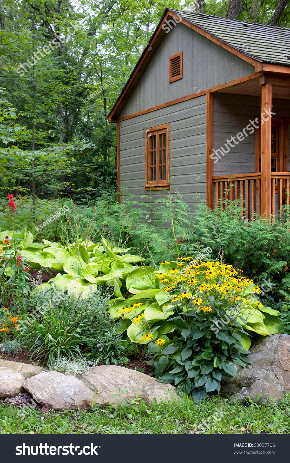 Small Summer House In The Forest Stock Photo 60037706