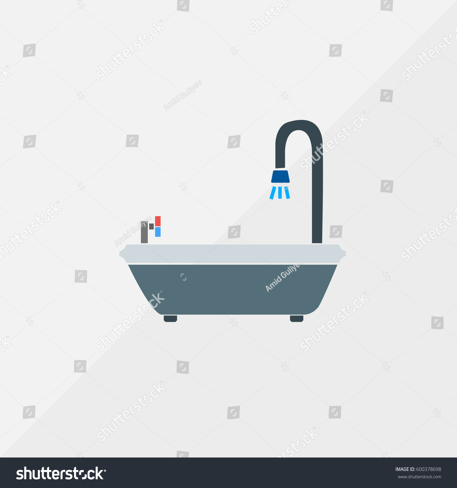 Bathtub Vector Icon Bath Vat Water Stock Vector (2018) 600378698 ...
