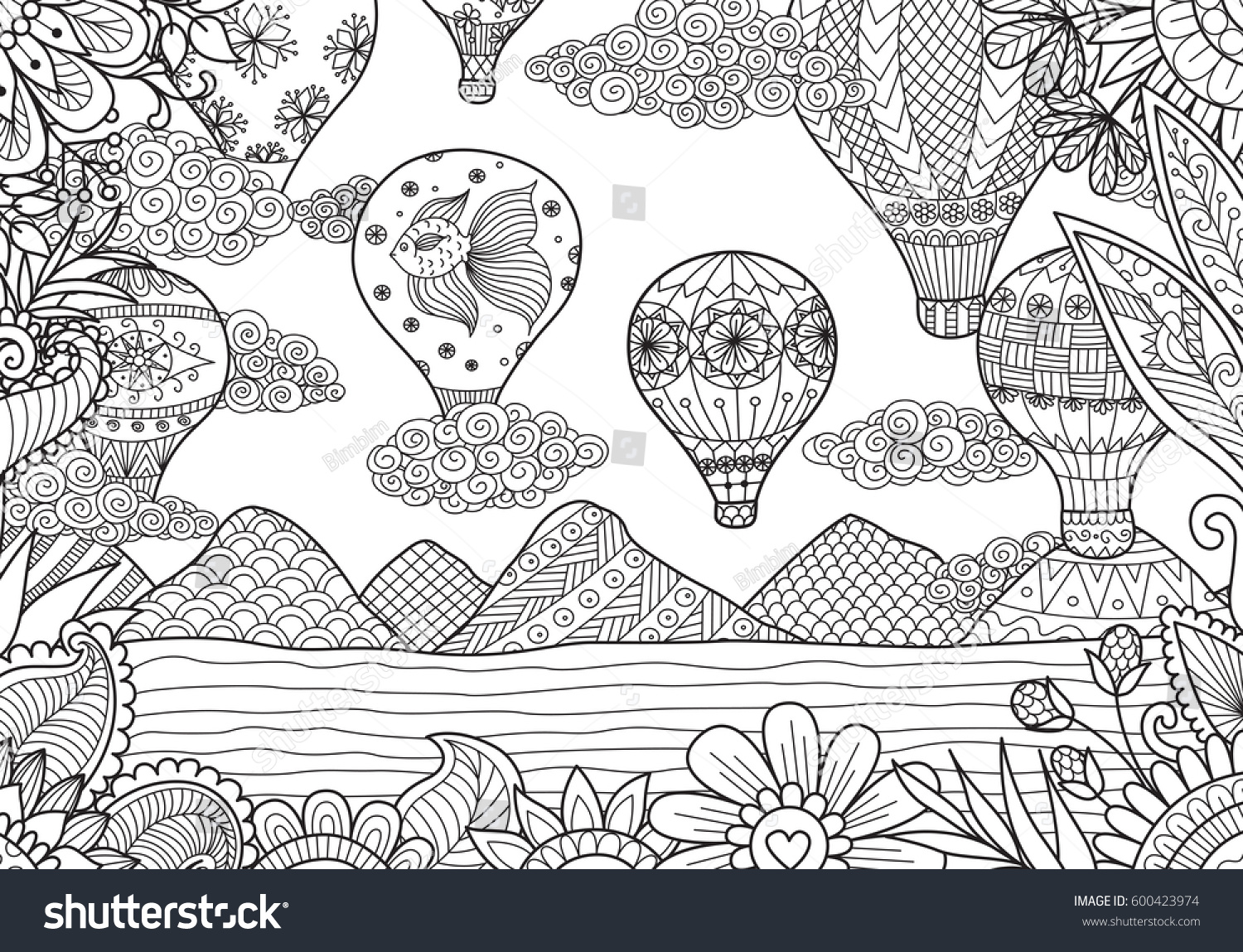 Line Art Design Of Hot Air Balloons In Spring And Summer Time For Coloring  Page And