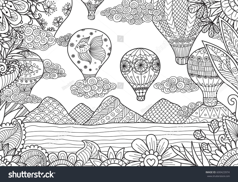 Line Art Design Hot Air Balloons Stock Vector 600423974 - Shutterstock