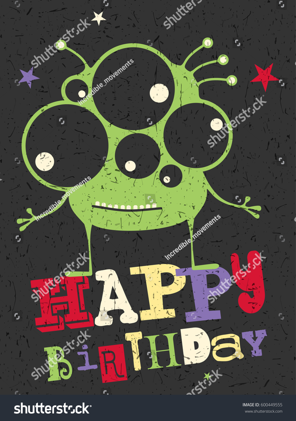 Happy Birthday Gift Card With Cute Color Monster Cartoon Illustration Invitation Postcard